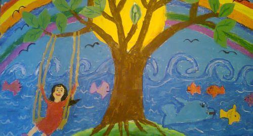 Çocuklar hayallerindeki doğayı resmetti