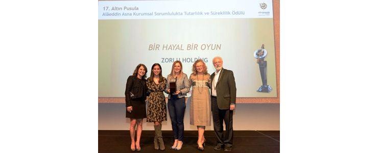 """TÜHİD Alâeddin Asna Ödülü"""" Bir Hayal Bir Oyun"""" projesiyle Zorlu Holding'in!"""